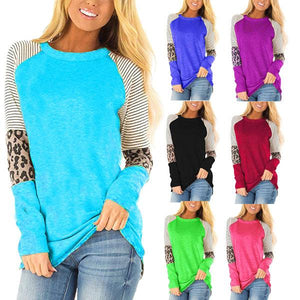Women Fashion Leopard Round Neck Long Sleeve Color Block Casual T-shirt Blouse Tops