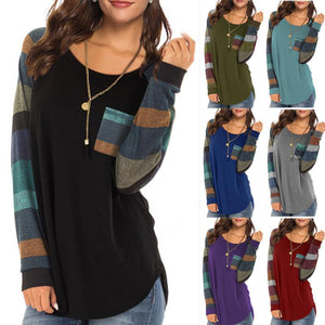 Women's Cotton Long Sleeve Color Block Tunic Tops