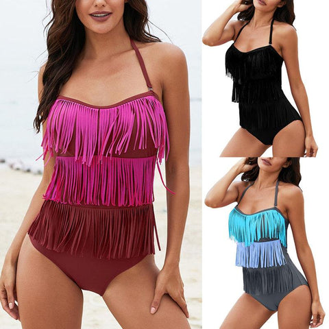 Sexy Backless Rose Multi-layer Fringed One-piece Swimsuit