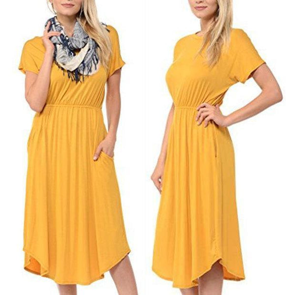 Round Neck Bat Sleeves Solid Color Long Dress