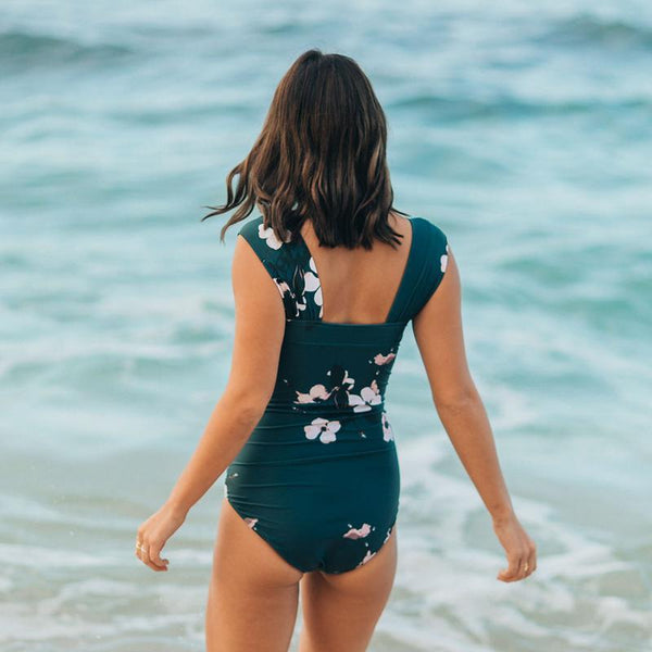 Green Printed One-piece Swimsuit
