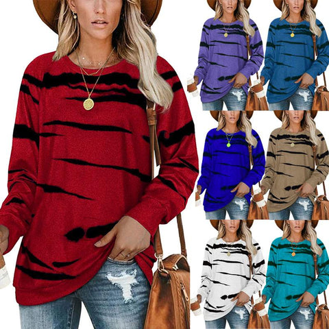 Women Loose Crew Neck Tie Dye Stripe Printed Long Sleeve Casual Pullover Blouse Tops