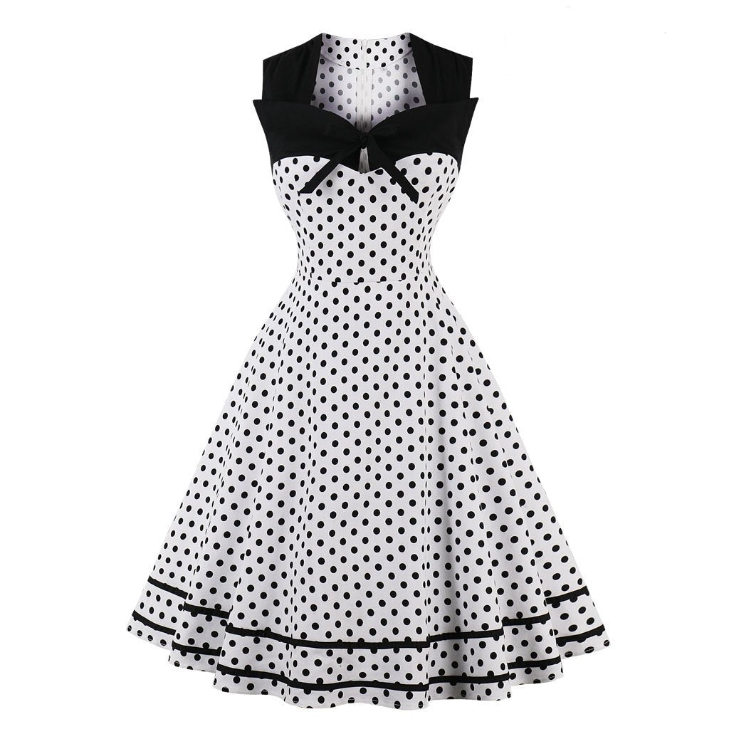 Square Collar Wave Retro Dress