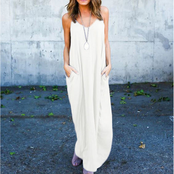 Summer Boho Evening Party Strappy Long Maxi Dress