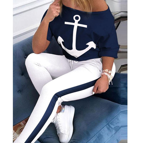 Anchor Printed Women Casual Short Sleeve T-Shirt + Pants Two Piece Set
