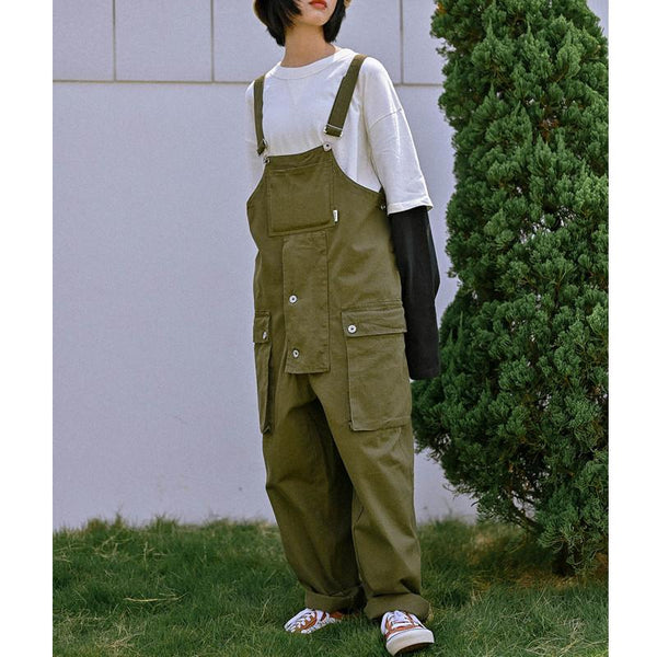 Men Women Retro Loose One Piece Denim Bib Overalls Ripped Jeans Pocket Jumpsuit Coverall Workwear Pants