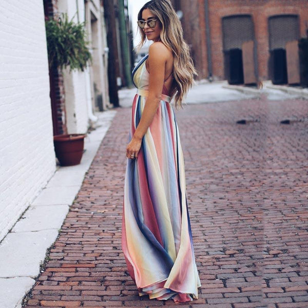 Colorful Deep V neck Women High Waist Maxi Dress