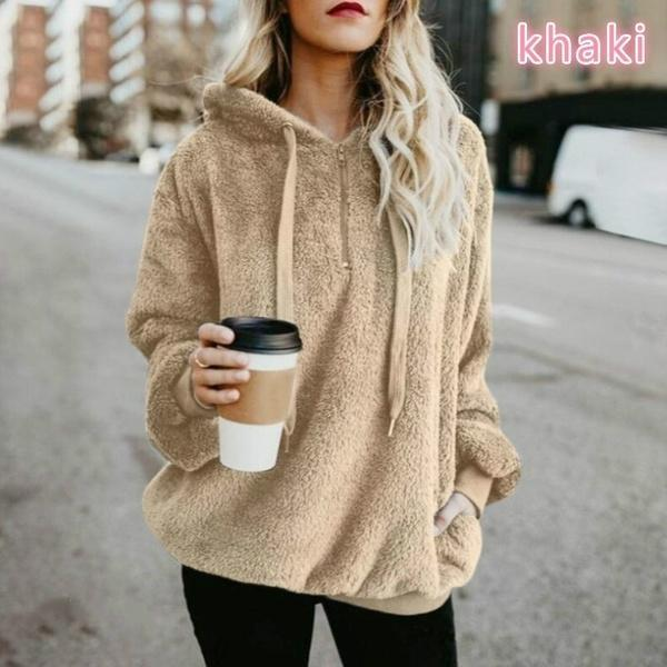 Loose Casual Solid Color Hooded Coat
