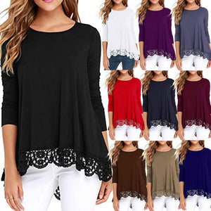 Women Lace Long Sleeve O-Neck A Line Tunic Shirt Blouse Tops