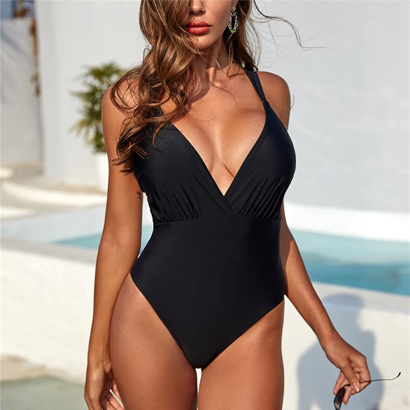 Women's One Piece Swimwear Deep V Neck Bathing Suits Monokinis Swimsuit