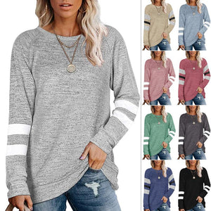 Womens Crewneck Shirt Color Block Long Sleeve Sweaters Tunic Tops