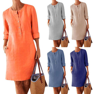 Women Plus Size Solid Color Pocket Casual Button Cotton Linen Long Sleeve Tunic Dress