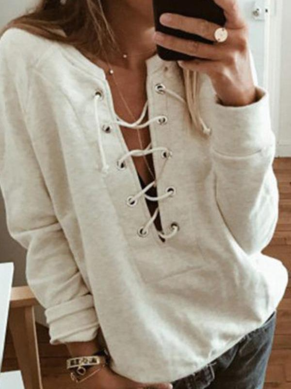 Sexy Lace Up V-Neck Long Sleeve T-Shirt