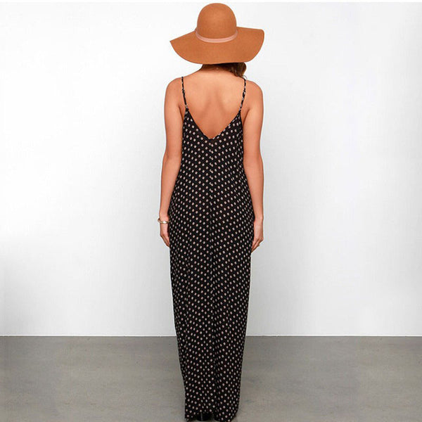 2018  Strapless Polka Dot Casual Loose Maxi Dress