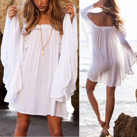 Off Shoulder Dress Long Sleeve Loose Beach Dress