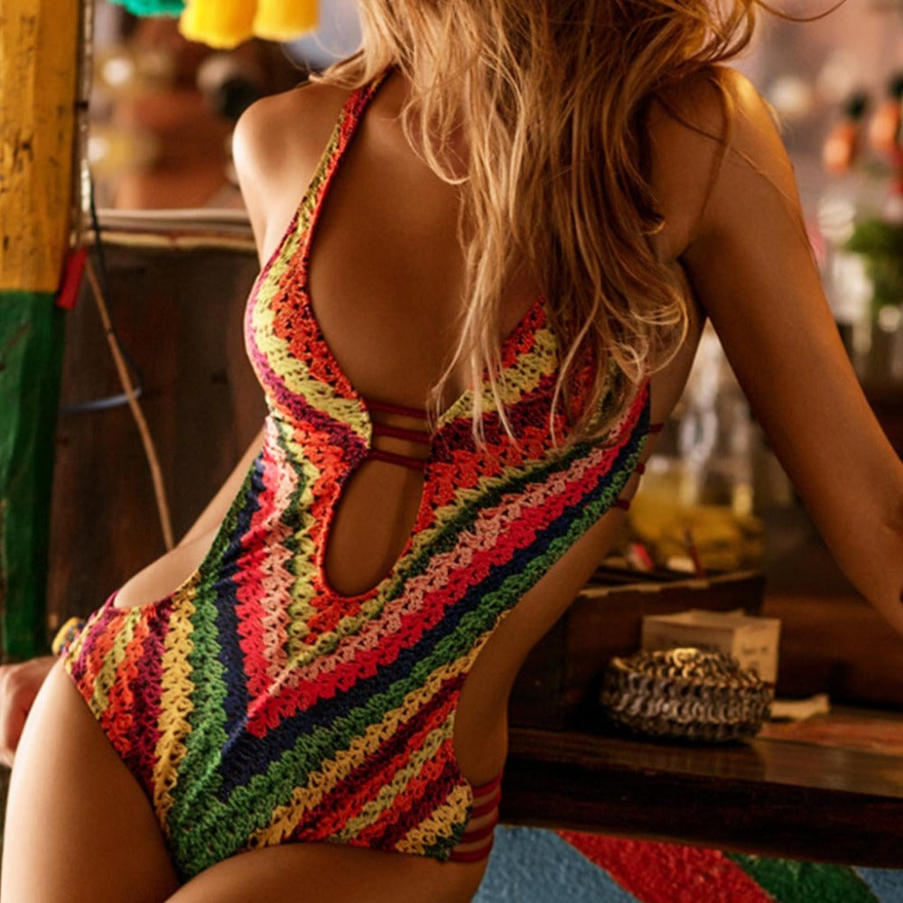 Sexy One Piece Retro Print Bathing Suit