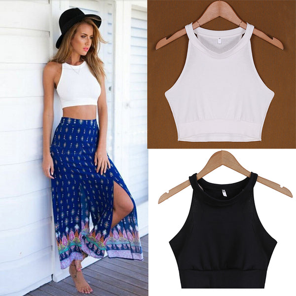 O Neck Halter Crop Top