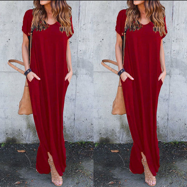Elegant Floor Length  Short Sleeve  Summer Maxi Dress