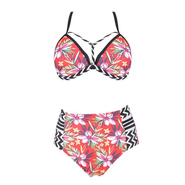 Floral Print two-pieces High Stretch bikini suit