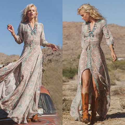 Summer Boho Chiffon Beach Long Maxi Dress Sundress