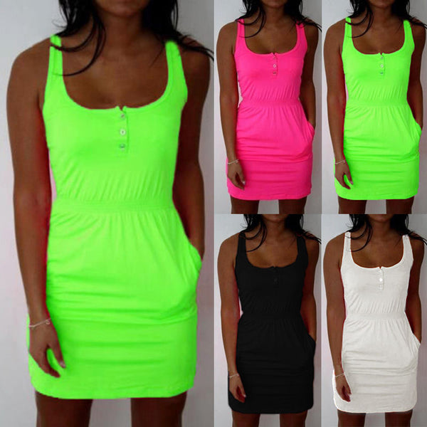 Summer Sleeveless Bodycon Casual Beach Short Mini Dress