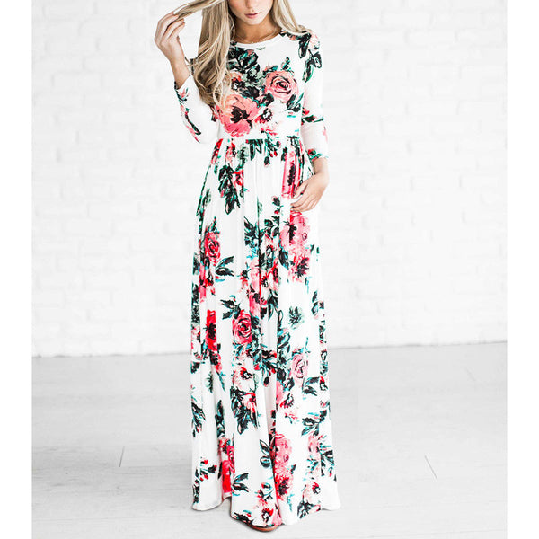 BOHO Floral Print Beach Long Sleeve Maxi Dress