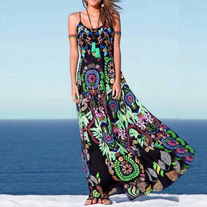 Summer Boho Floral Long Sleeveless  Maxi Dress