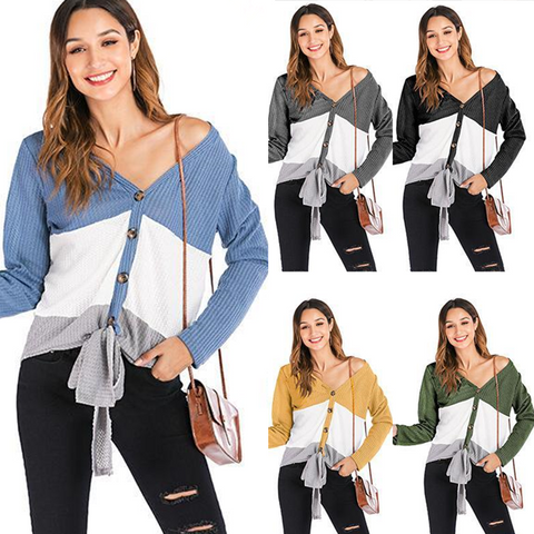 Long Sleeve Knit Button Cardigan V-neck Colorblock Sweater Top