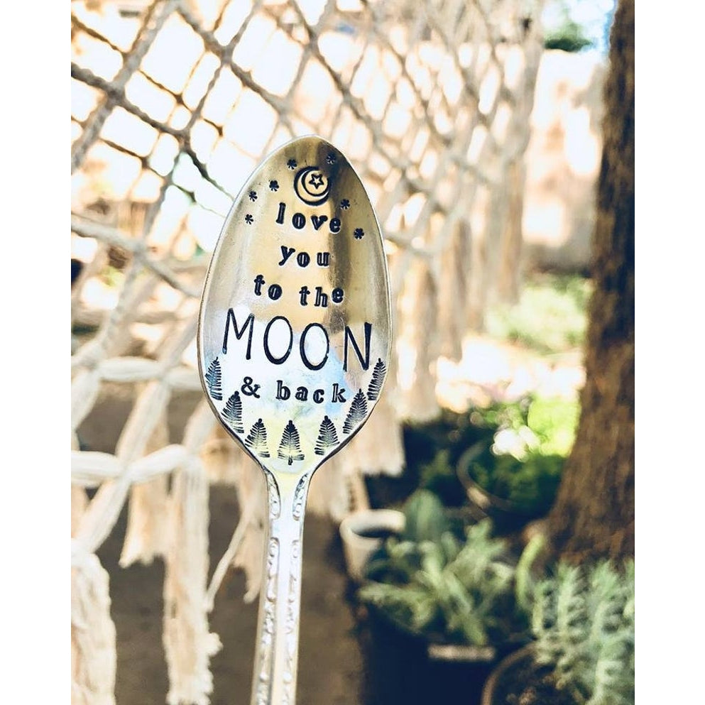 Hand Stamped Vintage Spoon- Moon and Back