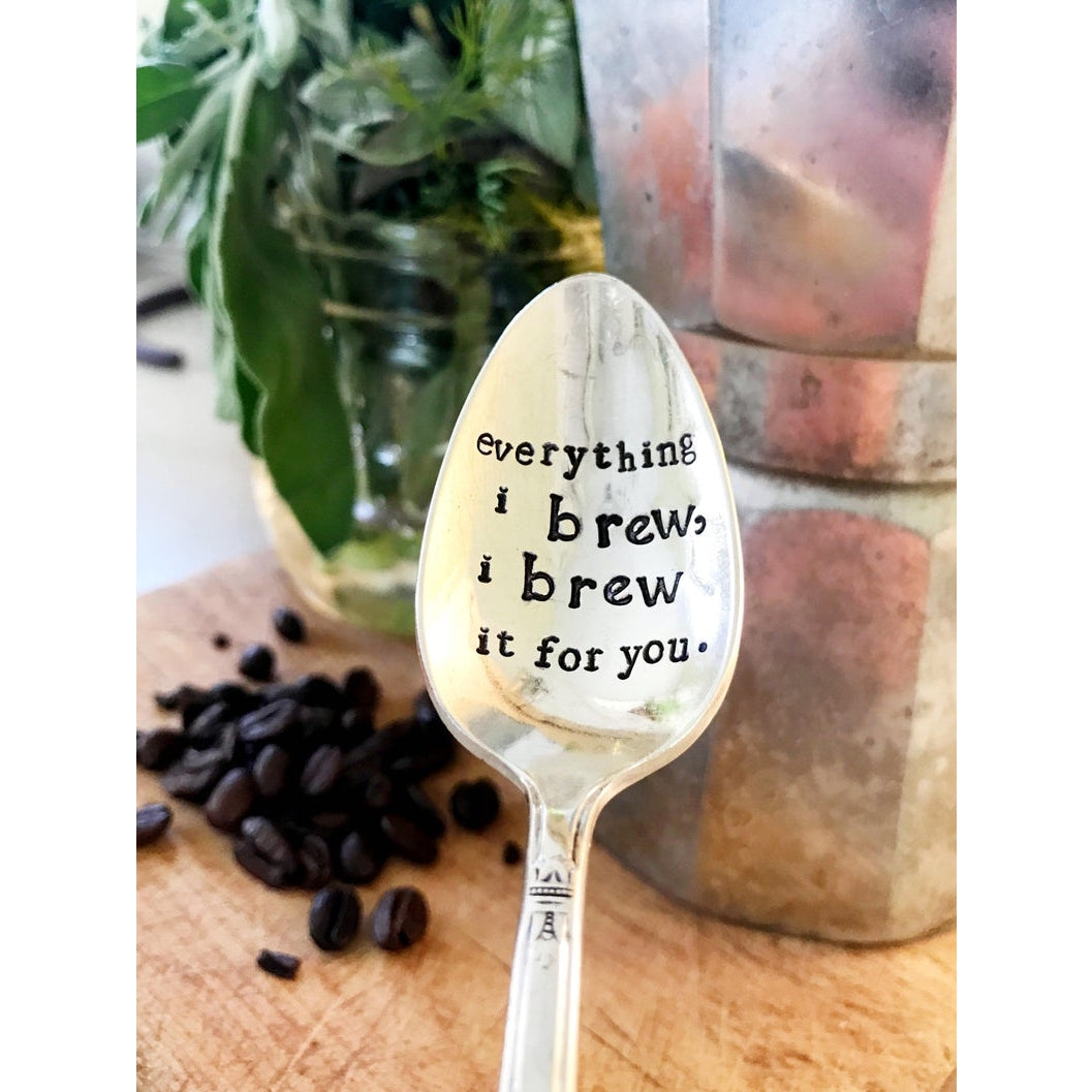 Hand Stamped Vintage Spoon- I Brew