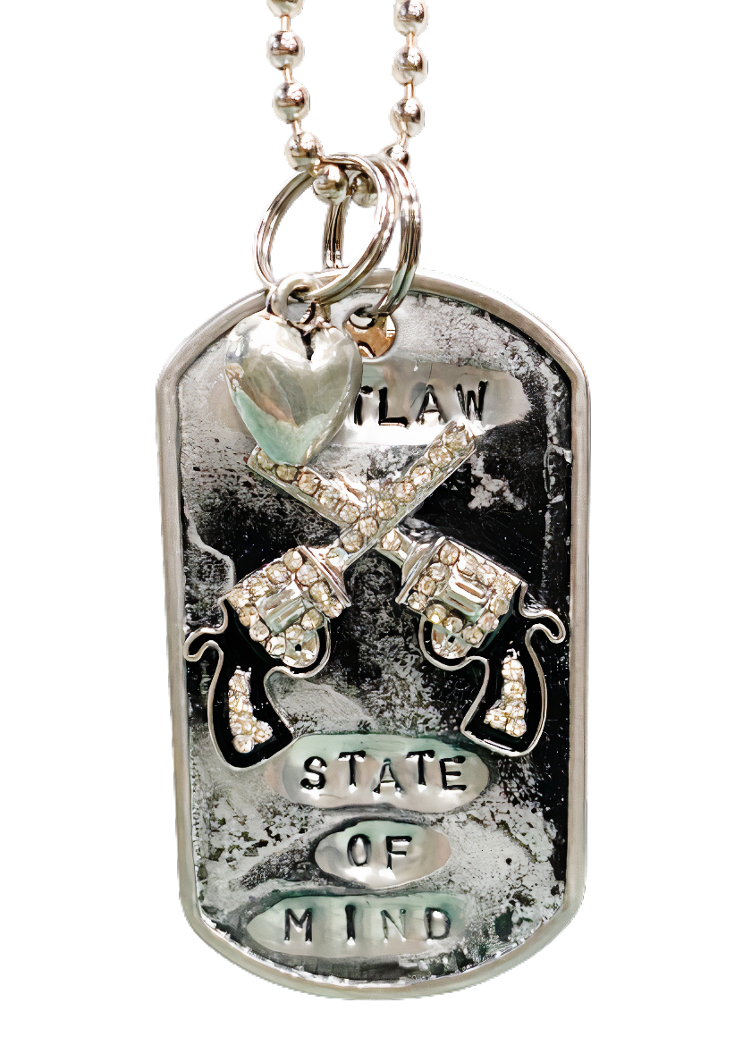 Handmade Dog Tag Necklace- Black- Outlaw State of Mind Guns