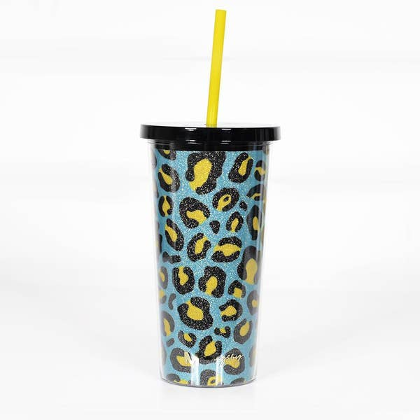 Teal & Yellow Leopard Tumbler With Straw