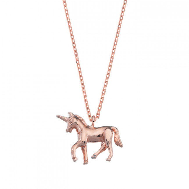 Unicorn Necklace Rose Gold Plated