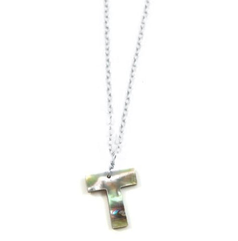 Abalone Letter Necklace Silver- T