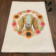 Load image into Gallery viewer, Flour Sack Towel- Flower Wreath Goat
