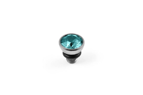 Interchangeable Top Bottone Stainless Steel Silver Swarovski 5 mm Light Turquoise