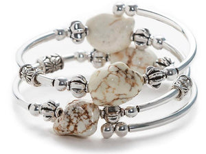 One Size Coil Wrap Bracelet White Russian Howlite Nuggets