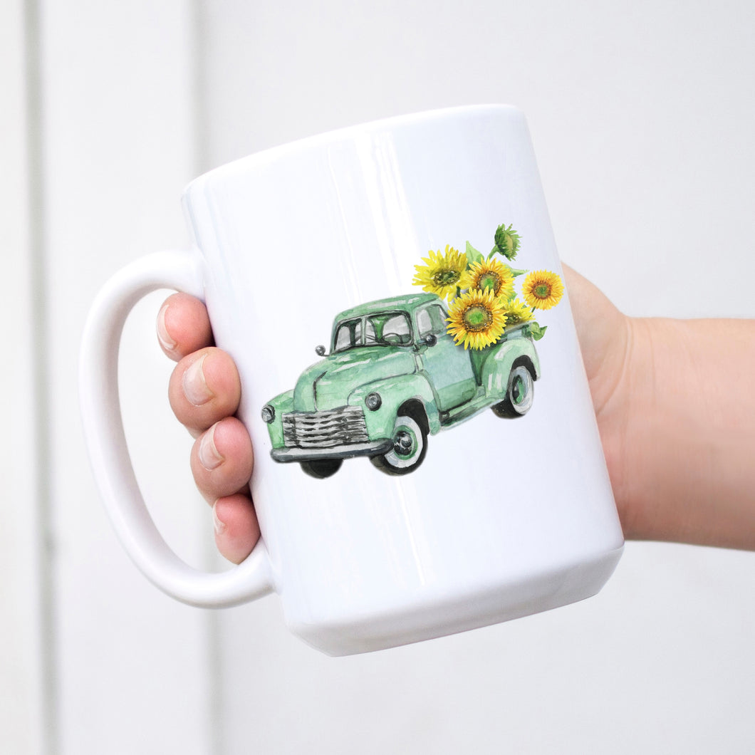 Green Sunflower Truck Ceramic Mug 15 oz