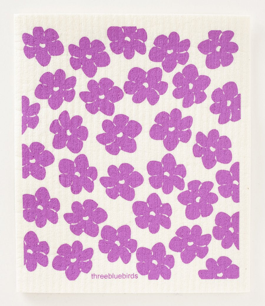 Purple Poppies Swedish Dishcloth