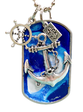 Load image into Gallery viewer, Handmade Dog Tag Necklace- Navy- Anchor