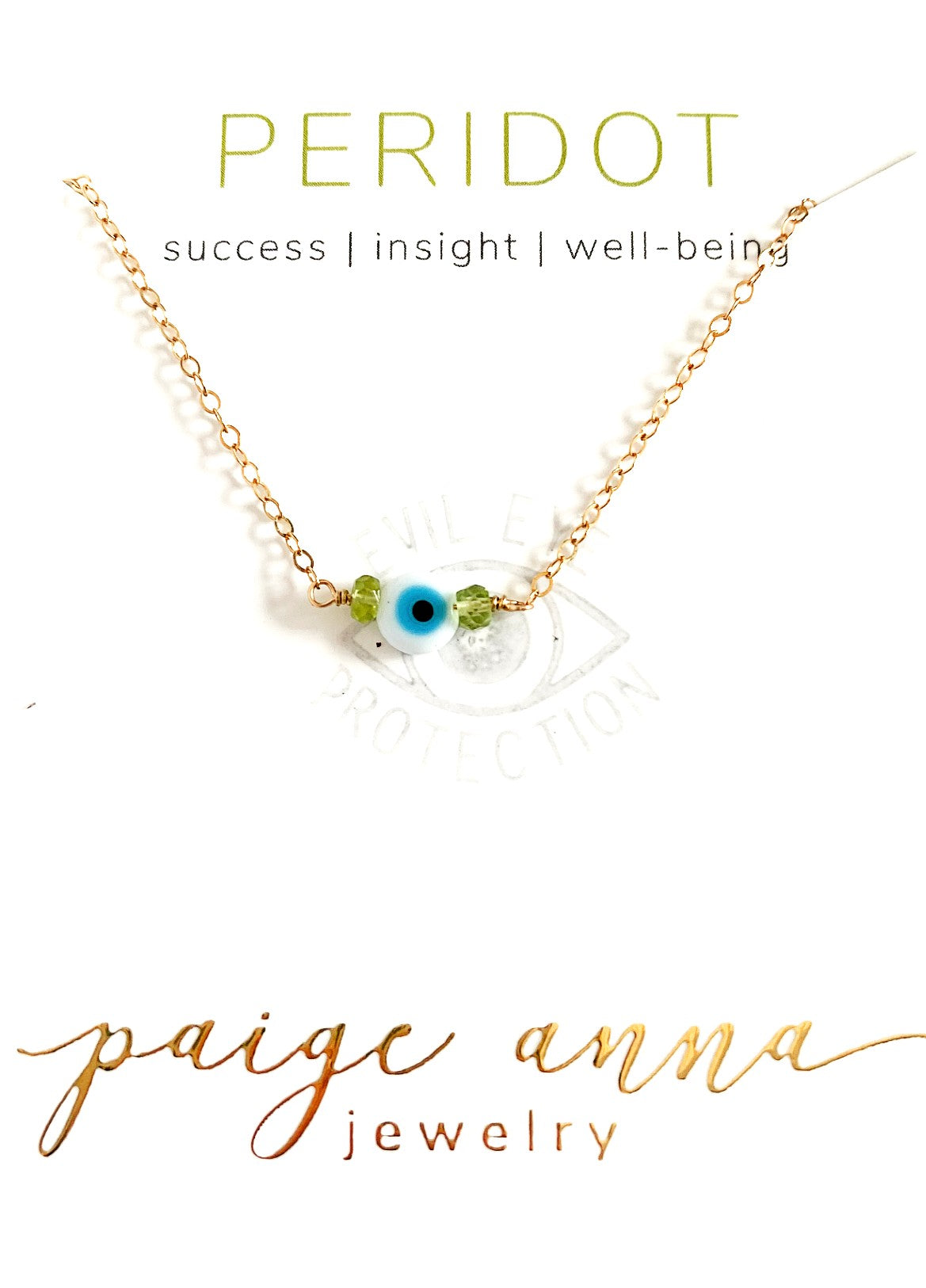 Evil Eye Gemstone Choker White/Peridot