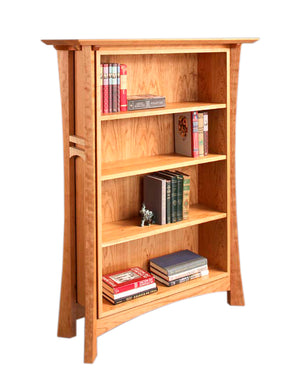 Waterfall Bookcase in Cherry is heirloom quality furniture made to order using Amish joinery techniques by Hardwood Artisans