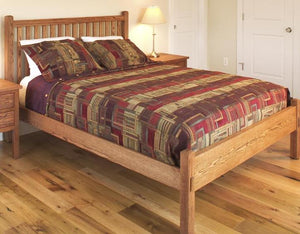 Craftsman Bed with Low Footboard in Red Oak with Medium Walnut Finish
