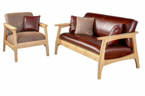Linnaea Loveseat shown with Linnaea Chair in Maple by Hardwood Artisans, a premium brand Made in Virginia