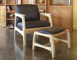 Linnaea Chair and Ottoman in Maple