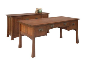 Glasgow Desk shown w/ Credenza in Cherry w/ Mahogany Wash & Custom Handles is hand-finished office furniture w/ Amish joinery