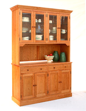 Shaker Bradlee Sideboard shown with a Custom Hutch in Natural Cherry from sustainable foresting companies in North America