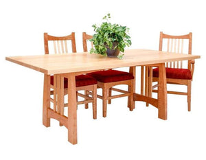 Highland Table and Artisan Chairs in Natural Cherry with Curly Maple Slats