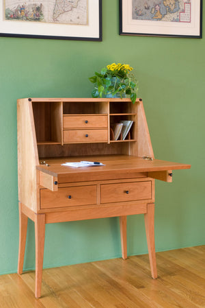 Simply Beautiful Secretary Natural Cherry Desk w/ tapered legs and 4-drawers Made in Virginia, near Maryland & Washington DC