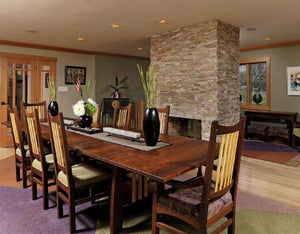 Highland Table and Highland Chairs in Walnut with Contrasting Accents